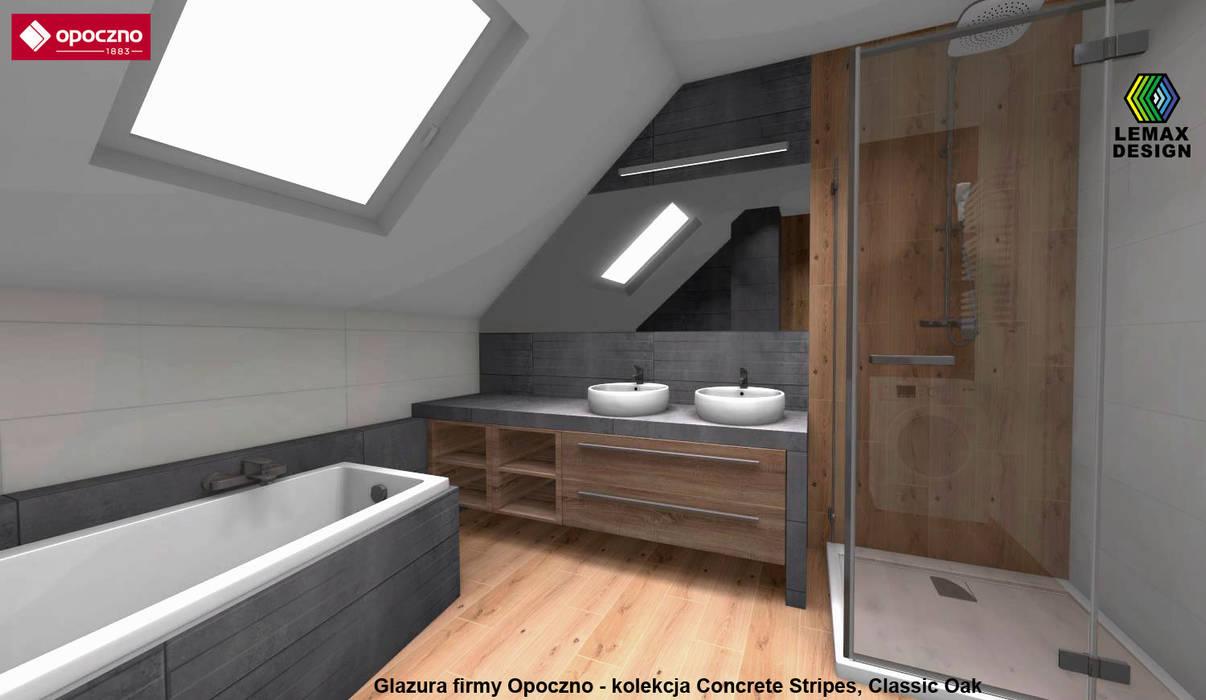 Projekt łazienki Ze Skosami Opoczno Concrete Stripes
