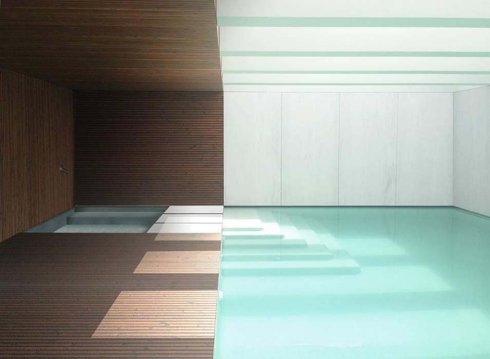 Piscina Interior Luminosa: Piscinas infinitas  por MCSARQ