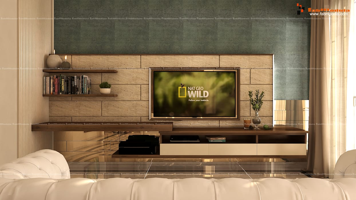 Simple and Modern TV Unit:  Living room by Fabmodula
