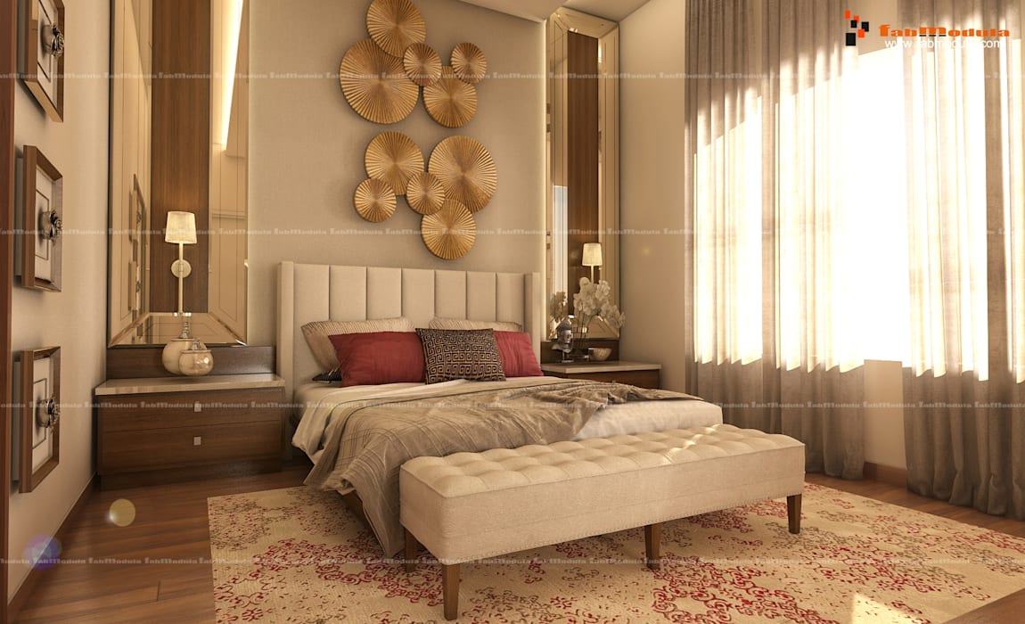 Modern Fusion Master Bedroom:  Small bedroom by Fabmodula,