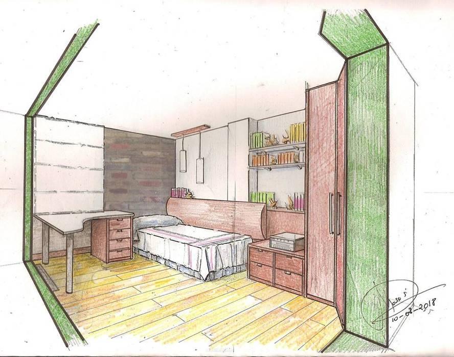 Boceto para habitación pequeña de Clarion - acotrazio d'interiors S.L.U Moderno