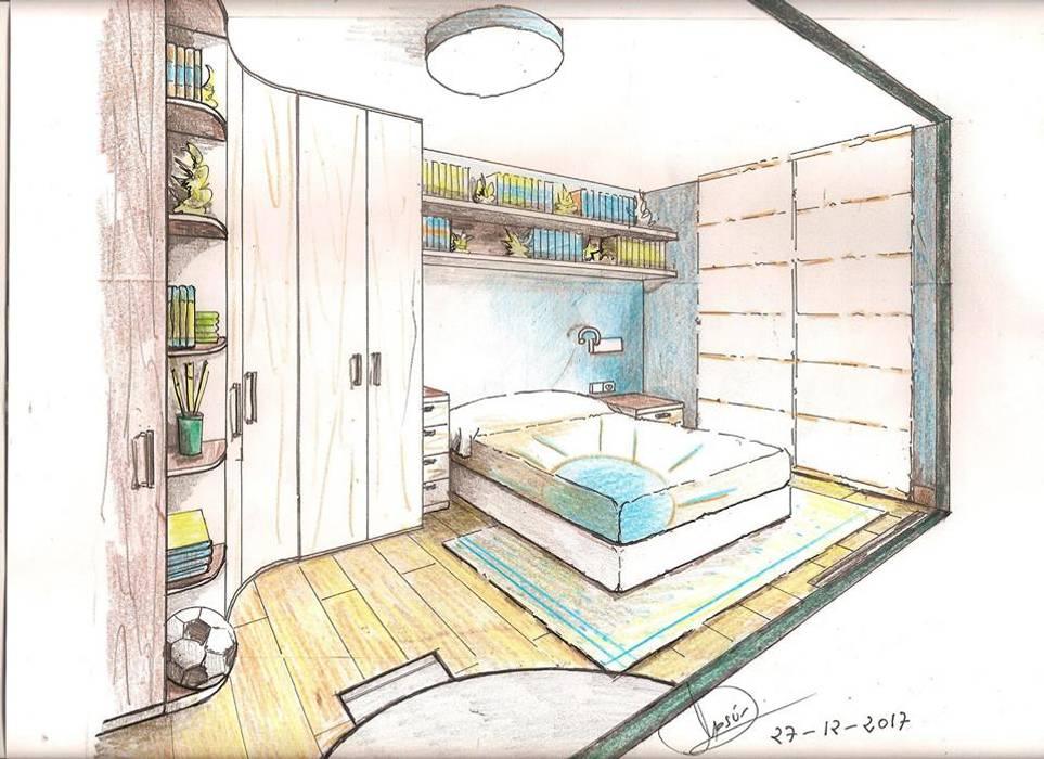 Boceto de habitación con detalles de espacio:  de estilo  de Clarion - acotrazio d'interiors S.L.U, Moderno