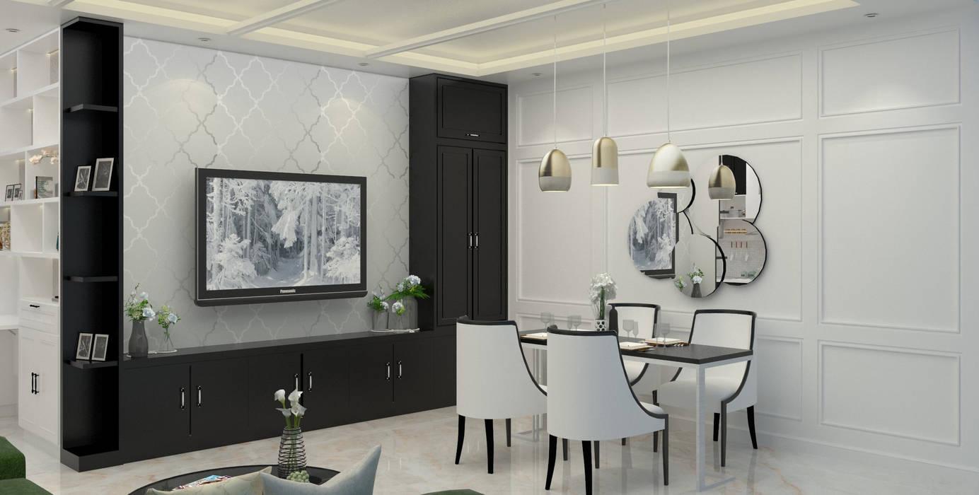 DSL Studio Modern dining room Engineered Wood White