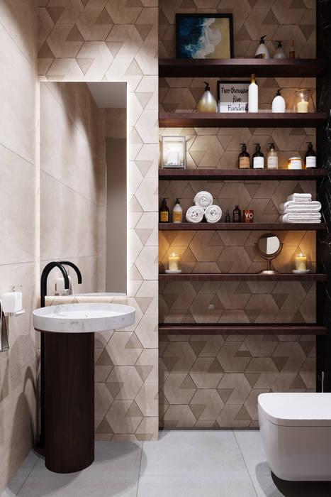 Квартира 200 кв.м. в современном стиле в ЖК Vander Park.: Ванные комнаты в . Автор – Студия архитектуры и дизайна Дарьи Ельниковой, Минимализм