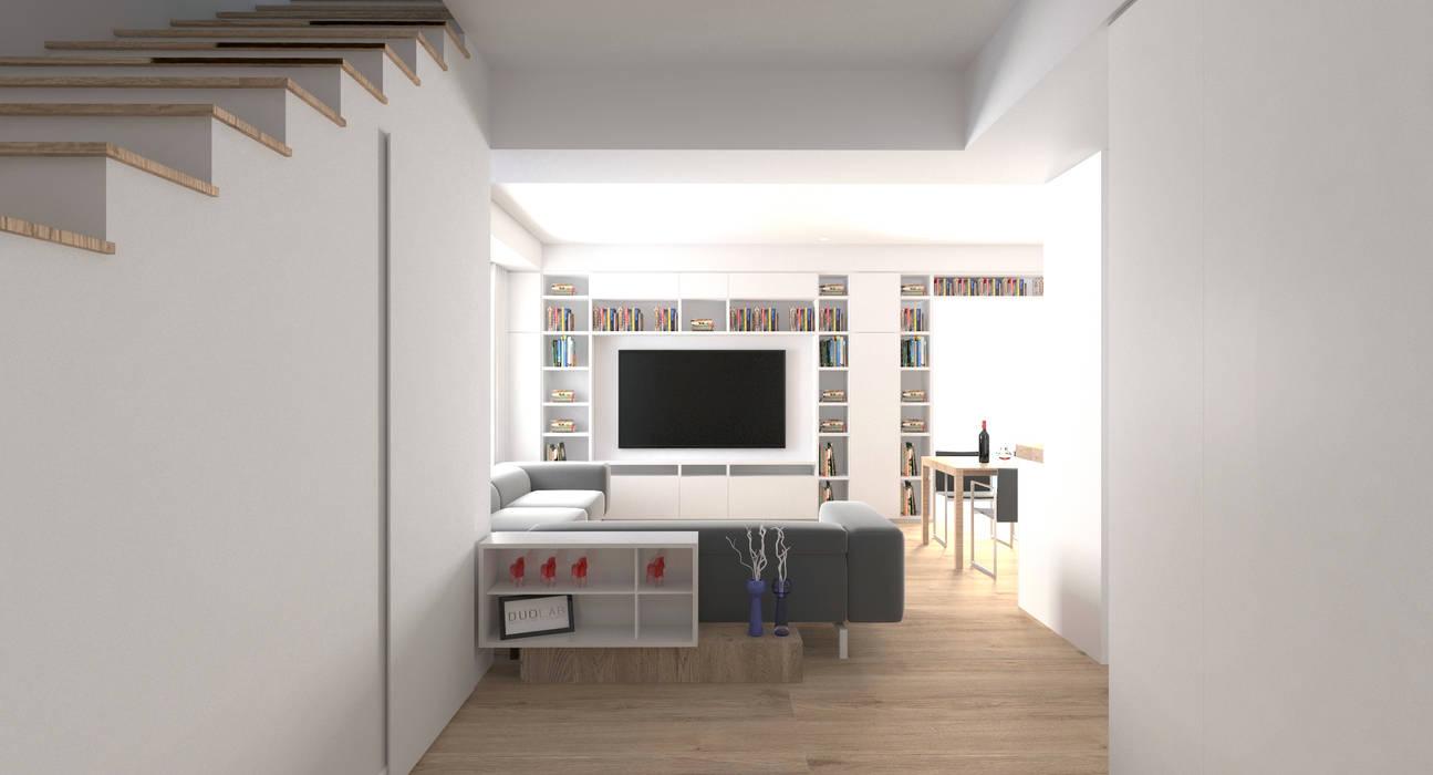 DUOLAB Progettazione e sviluppo Modern Corridor, Hallway and Staircase White