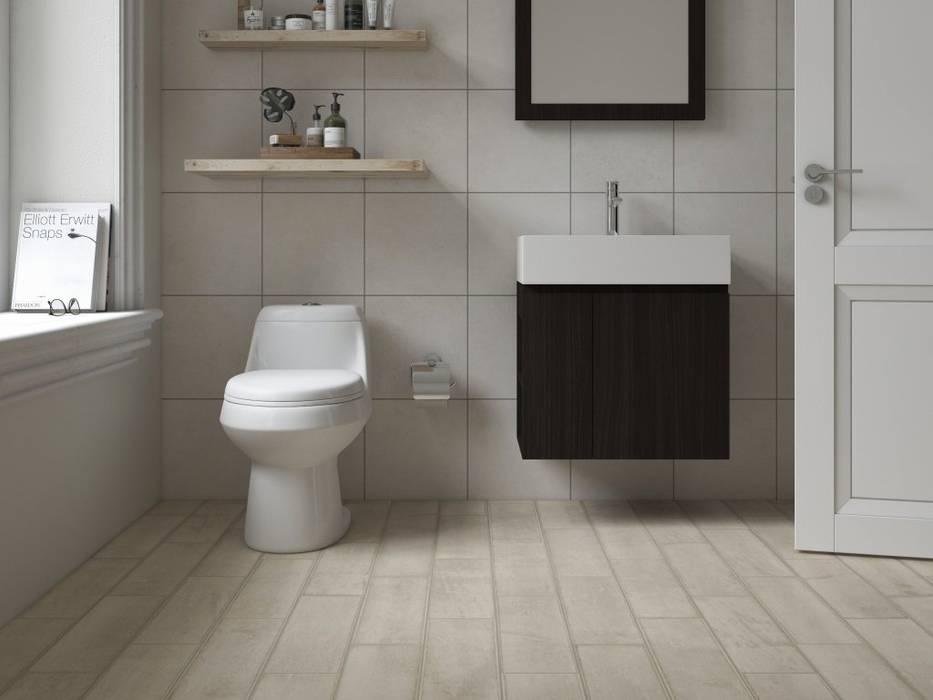 Baño con piso estilo madera: Baños de estilo  por Interceramic MX, Clásico Cerámico