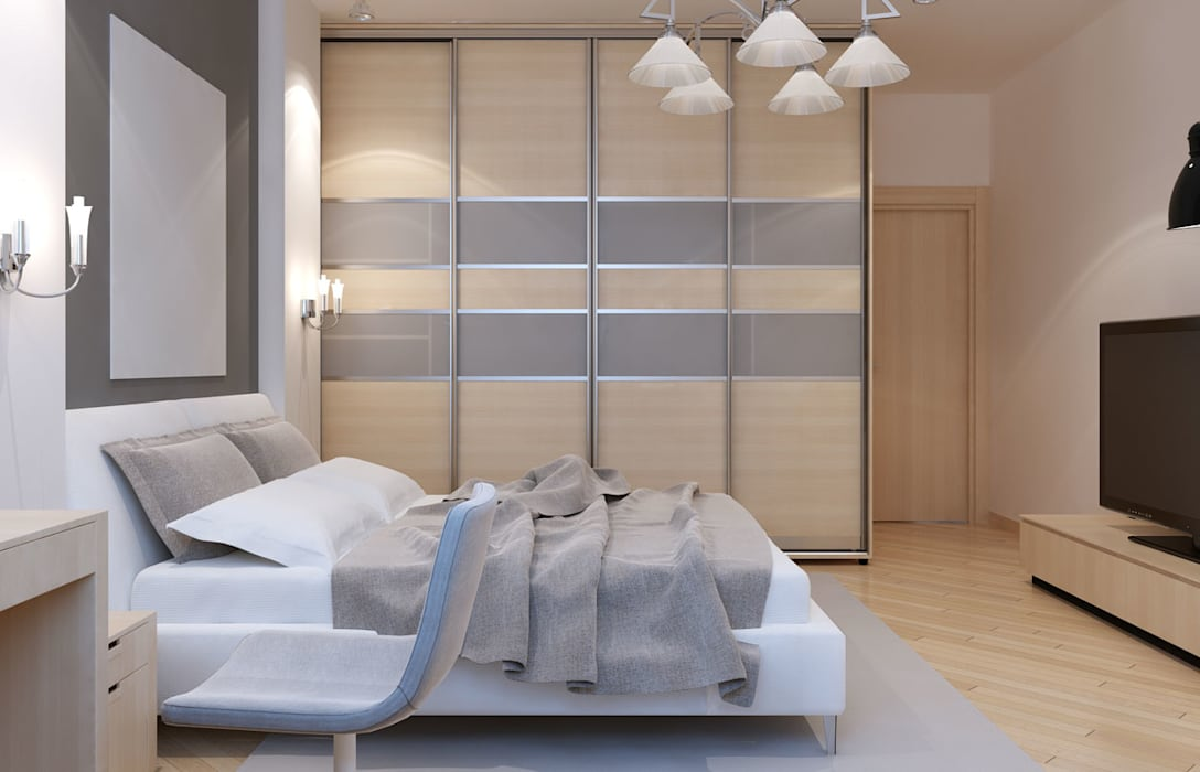 Veneer Grey Four Sliding Door Wardrobes London:  Bedroom by Metro Wardrobes London