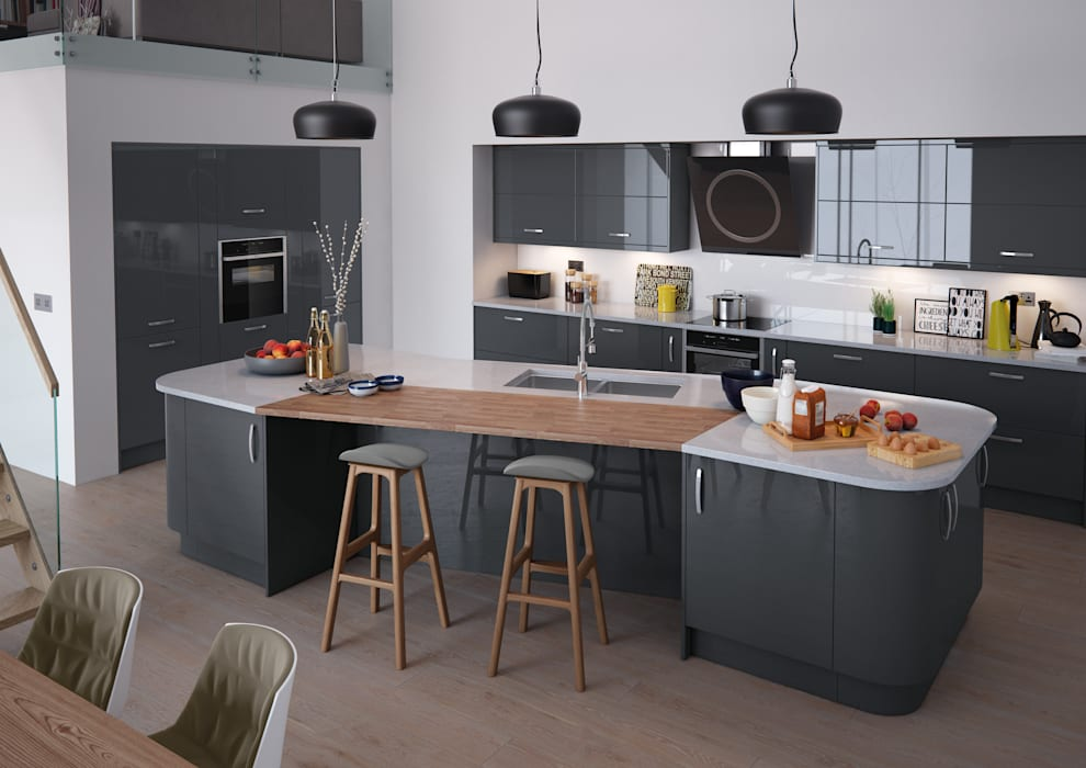 Vivo Gloss Anthracite Fitted Kitchens London:  Kitchen by Metro Wardrobes London,