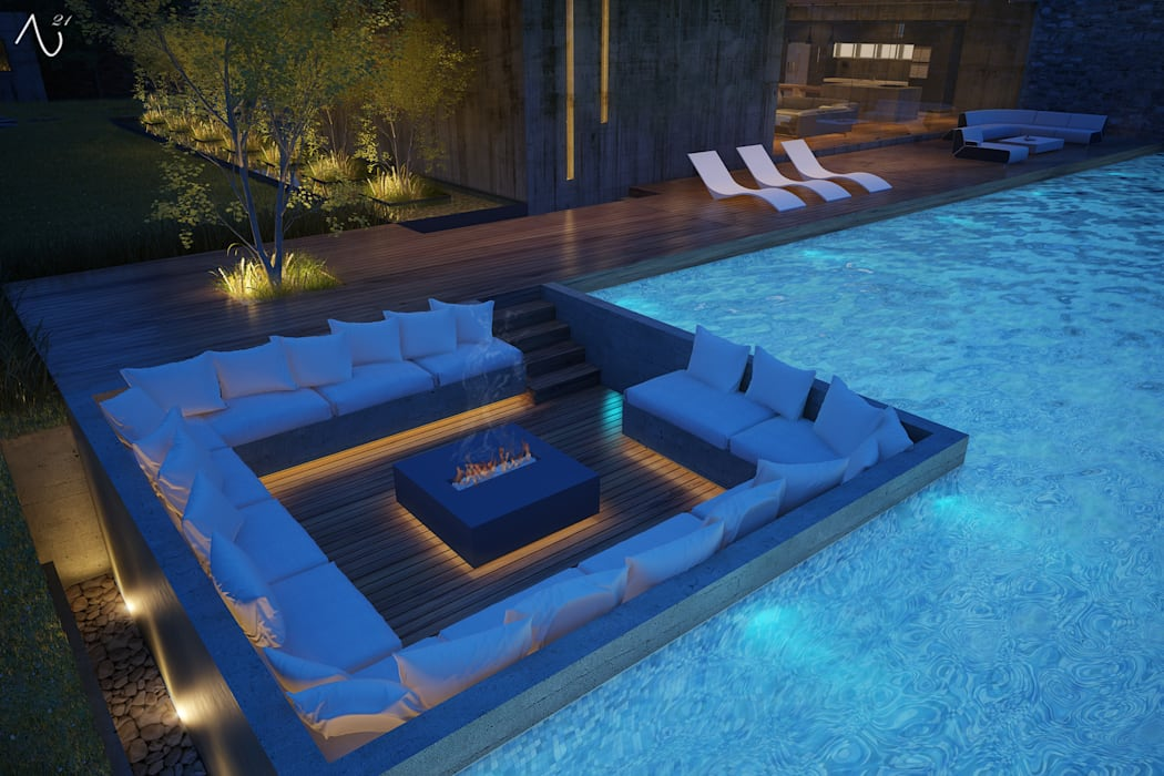 Casa RC: Albercas de estilo  por 21arquitectos, Minimalista