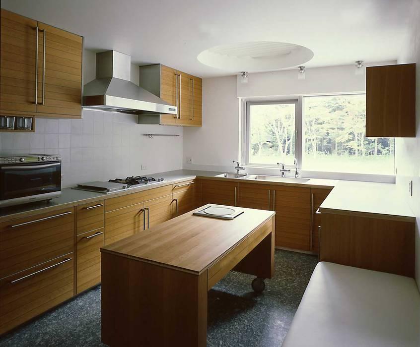 中軽井沢:原生林にいだかれ、暖炉のある伸びやかな住まい モダンな キッチン の JWA,Jun Watanabe & Associates モダン
