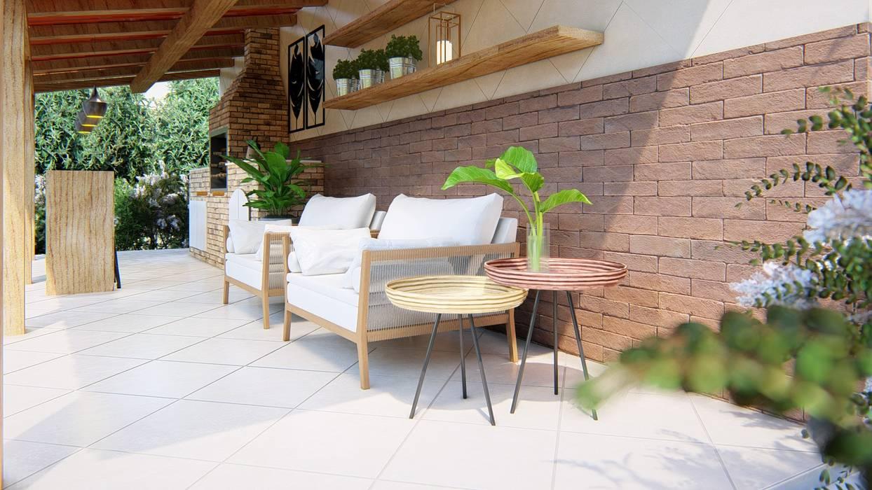 Área gourmet Studio MP Interiores Varandas, alpendres e terraços rústicos Madeira maciça Efeito de madeira