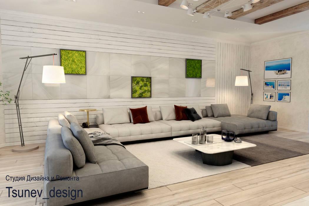 Дизайн квартиры с камином: Гостиная в . Автор – Цунёв_Дизайн. Студия интерьерных решений., Минимализм