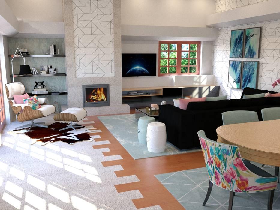 Proposta de design de interiores - imagem 3D:   por Palma Interiores,