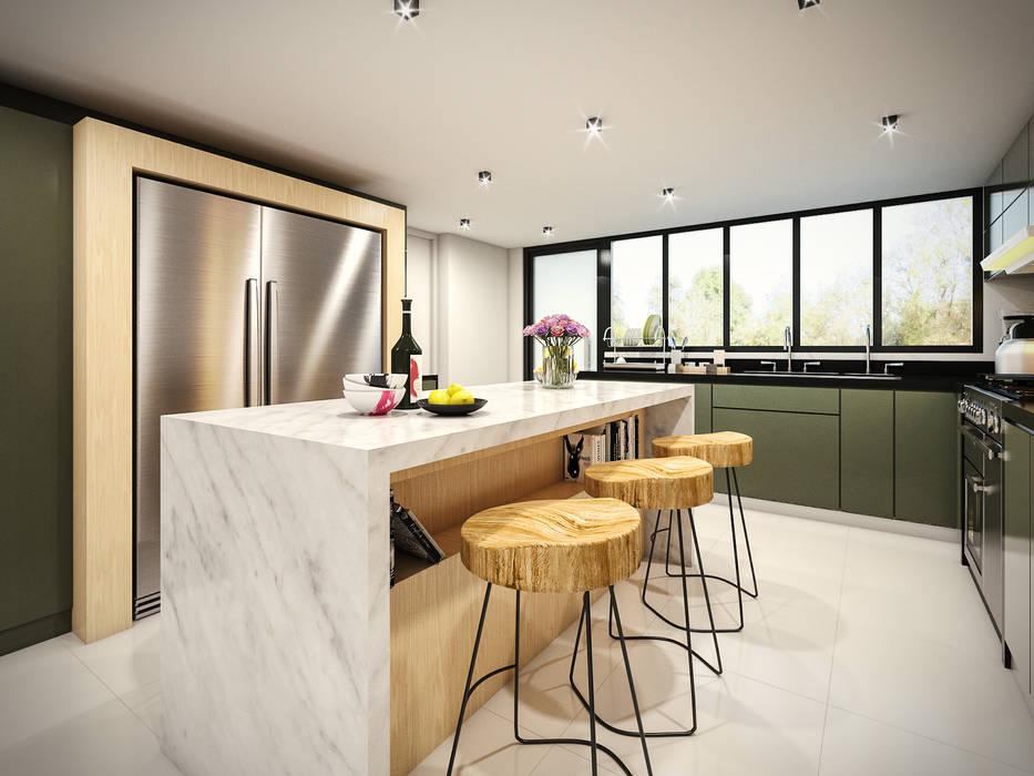 Cocina de PAR Arquitectos Moderno Granito