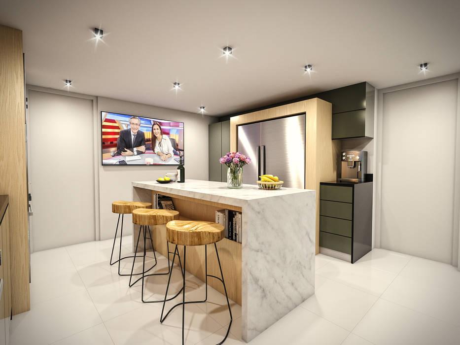 Cocina 02: Cocinas equipadas de estilo  por PAR Arquitectos, Moderno Cuarzo