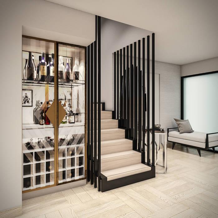 Hall Salas modernas de PAR Arquitectos Moderno Madera Acabado en madera