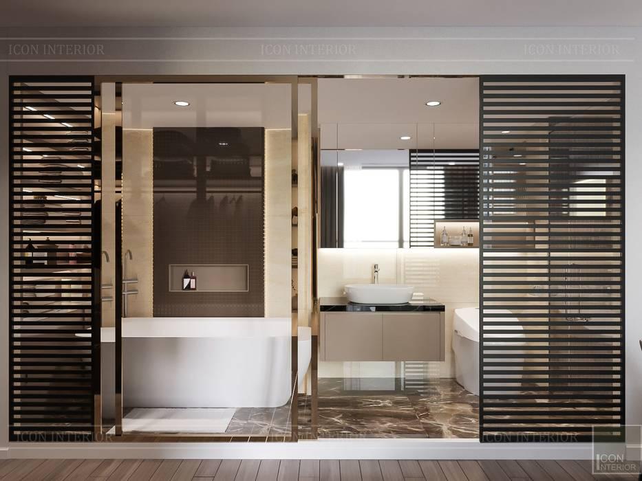 THIẾT KẾ TẬN DỤNG MỌI KHÔNG GIAN - Căn hộ Park 7 Vinhomes Central Park:  Phòng tắm by ICON INTERIOR, Hiện đại