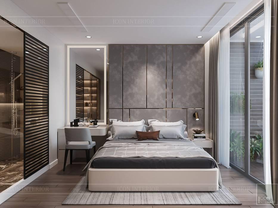 THIẾT KẾ TẬN DỤNG MỌI KHÔNG GIAN - Căn hộ Park 7 Vinhomes Central Park:  Phòng ngủ by ICON INTERIOR, Hiện đại