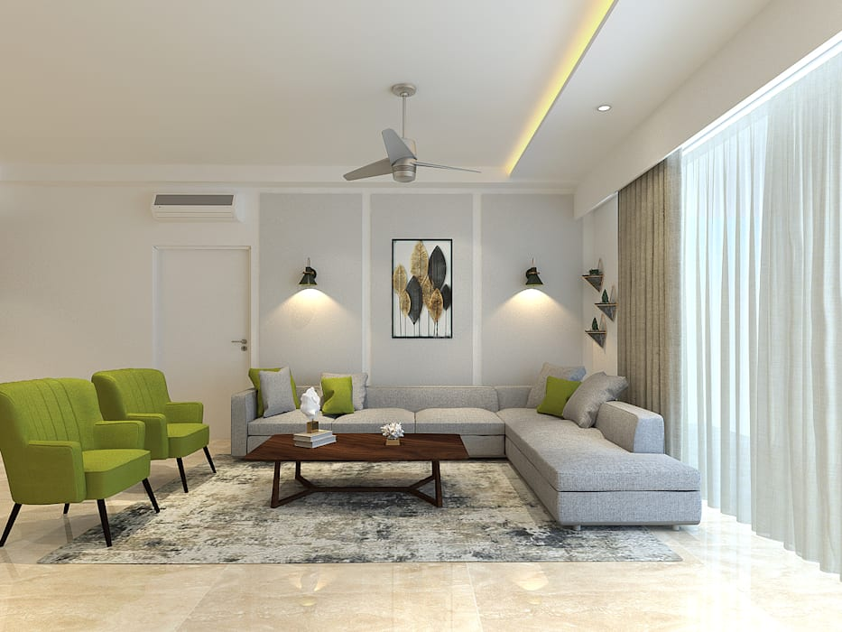 Apartment at DLF The Crest Modern living room by The Workroom Modern