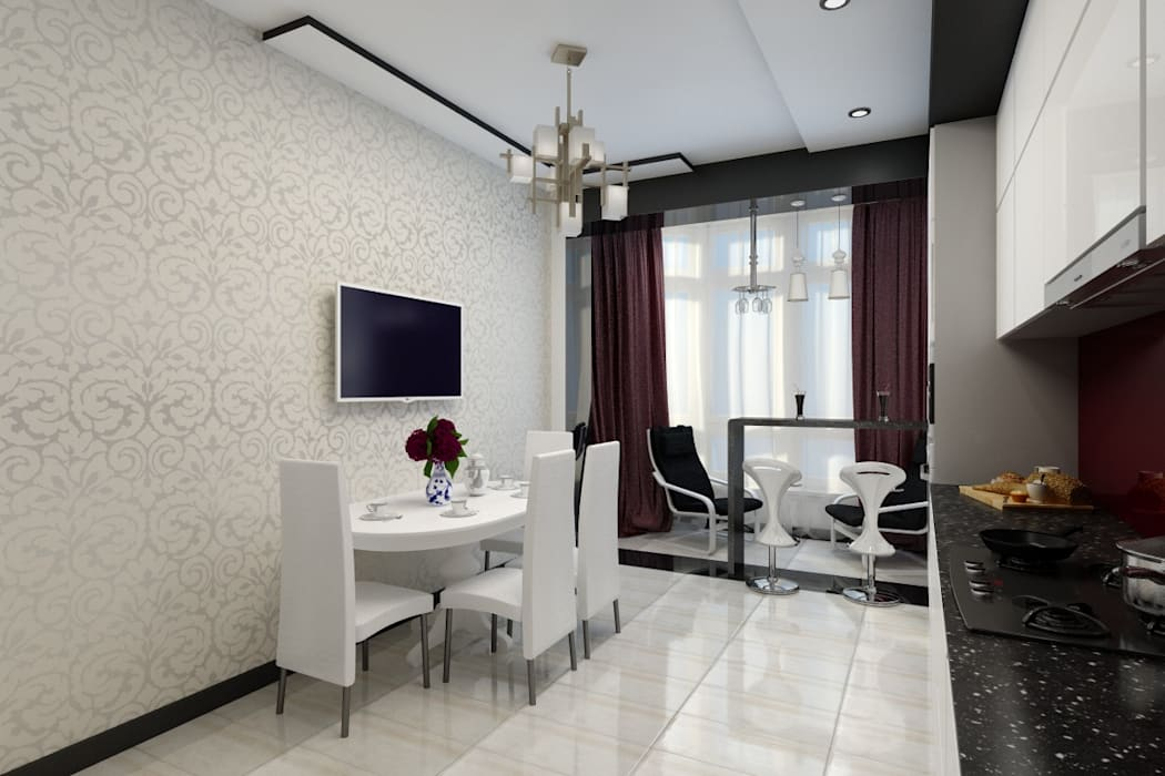 Черно белая кухня Кухня в стиле минимализм от Цунёв_Дизайн. Студия интерьерных решений. Минимализм