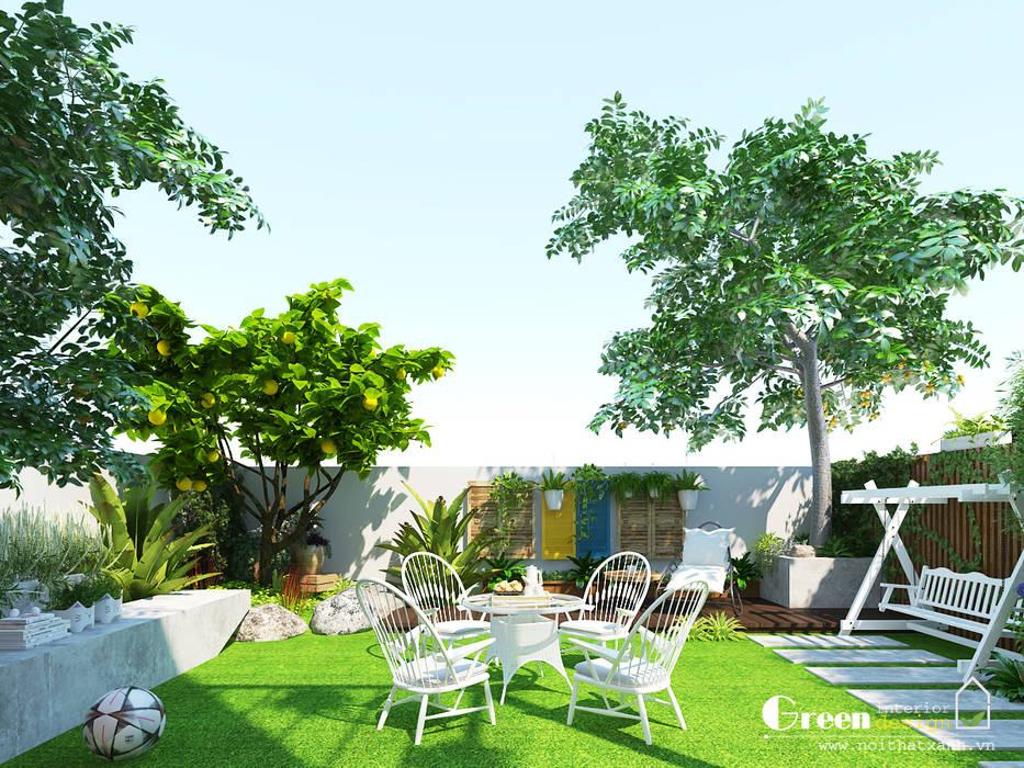 """""""BIỆT THỰ CUỐI TUẦN"""" VINHOMES THĂNG LONG Vườn phong cách hiện đại bởi Green Interior Hiện đại"""
