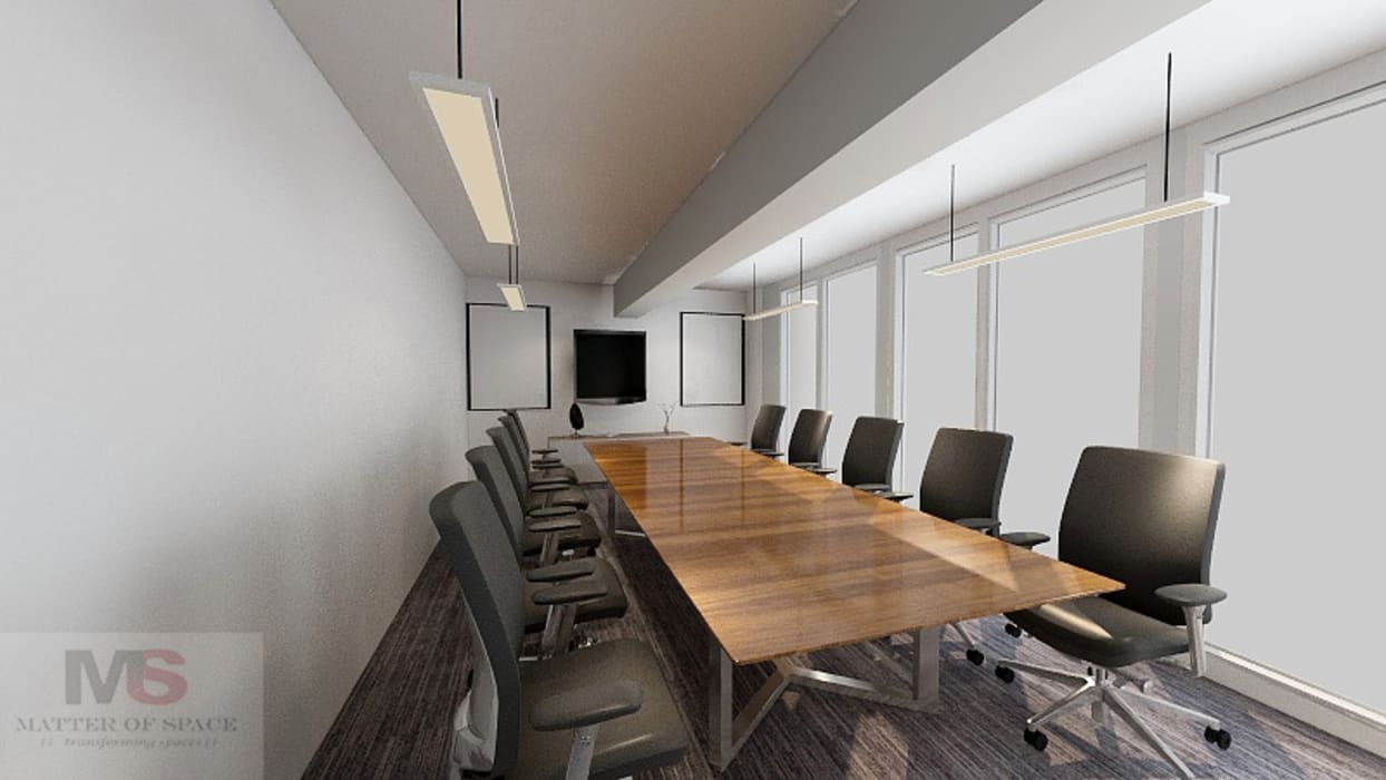 CONFERENCE ROOM:  Office buildings by Matter Of Space Pvt. Ltd.,Modern Wood Wood effect