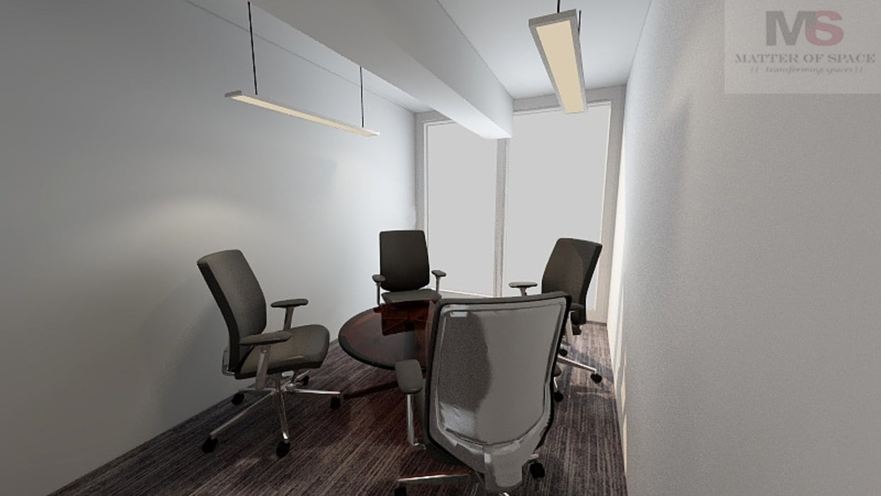 SMALL MEETING ROOM:  Office buildings by Matter Of Space Pvt. Ltd.,Modern Glass