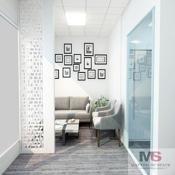 WAITING AREA:  Office buildings by Matter Of Space Pvt. Ltd.,