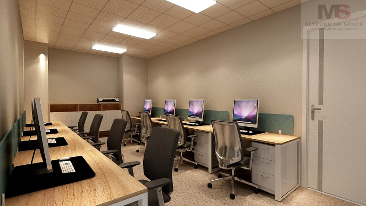 WORKSTATION AREA:  Office buildings by Matter Of Space Pvt. Ltd.,