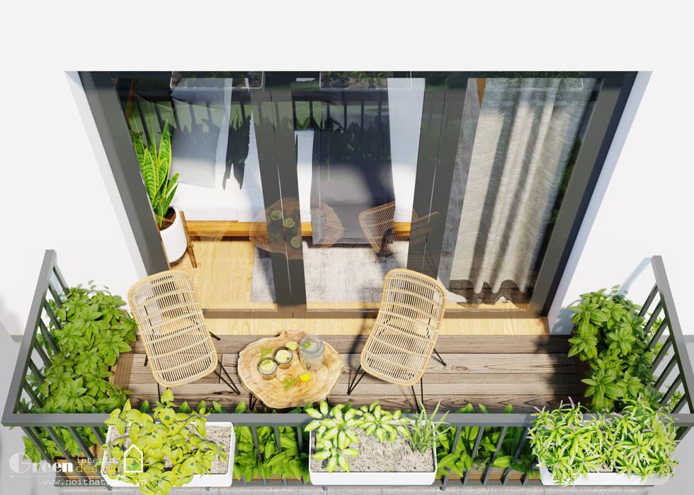 BIỆT THỰ VINHOMES THĂNG LONG : CÓ CĂN NHÀ NẰM NGHE NẮNG MƯA Vườn phong cách hiện đại bởi Green Interior Hiện đại