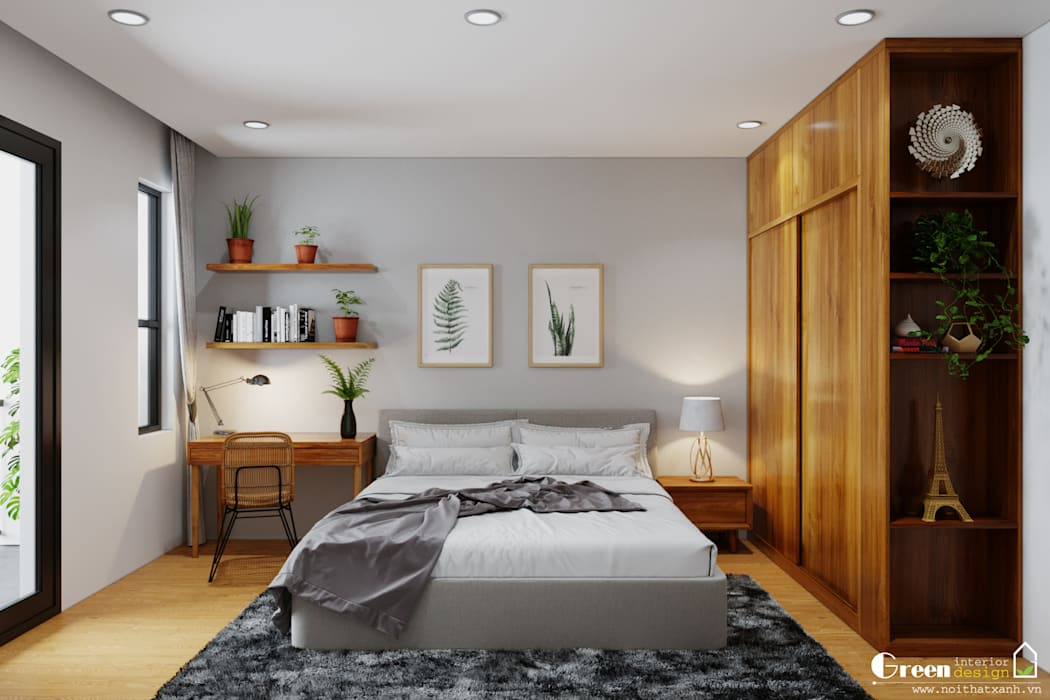 BIỆT THỰ VINHOMES THĂNG LONG : CÓ CĂN NHÀ NẰM NGHE NẮNG MƯA Phòng ngủ phong cách hiện đại bởi Green Interior Hiện đại