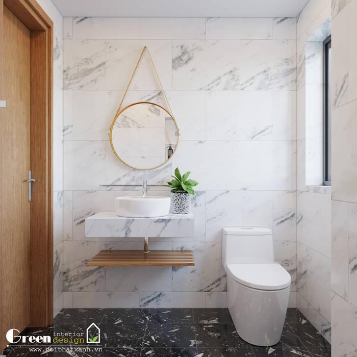 BIỆT THỰ VINHOMES THĂNG LONG : CÓ CĂN NHÀ NẰM NGHE NẮNG MƯA:  Phòng tắm by Green Interior, Hiện đại