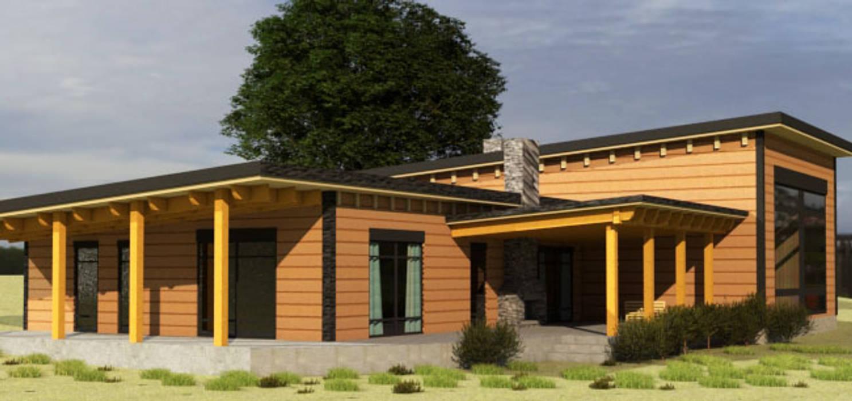 Diseño Cabaña de madera: Casas de madera de estilo  por CEC Espinoza y Canales LTDA,