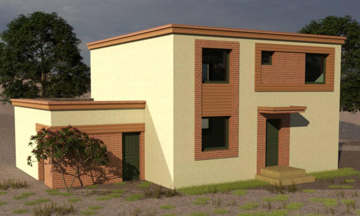 Vivienda estilo mediterraneo moderno, 2 plantas 188 M2: Casas unifamiliares de estilo  por CEC Espinoza y Canales LTDA,