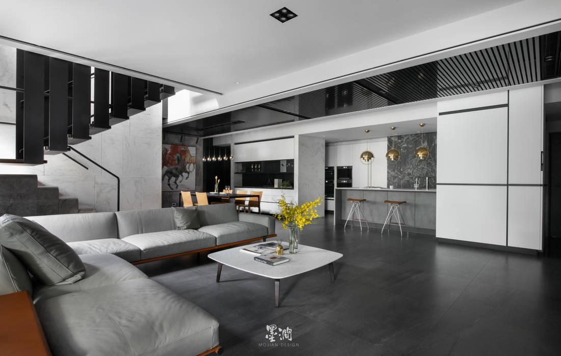 文山散步宅 墨澗設計 现代客厅設計點子、靈感 & 圖片