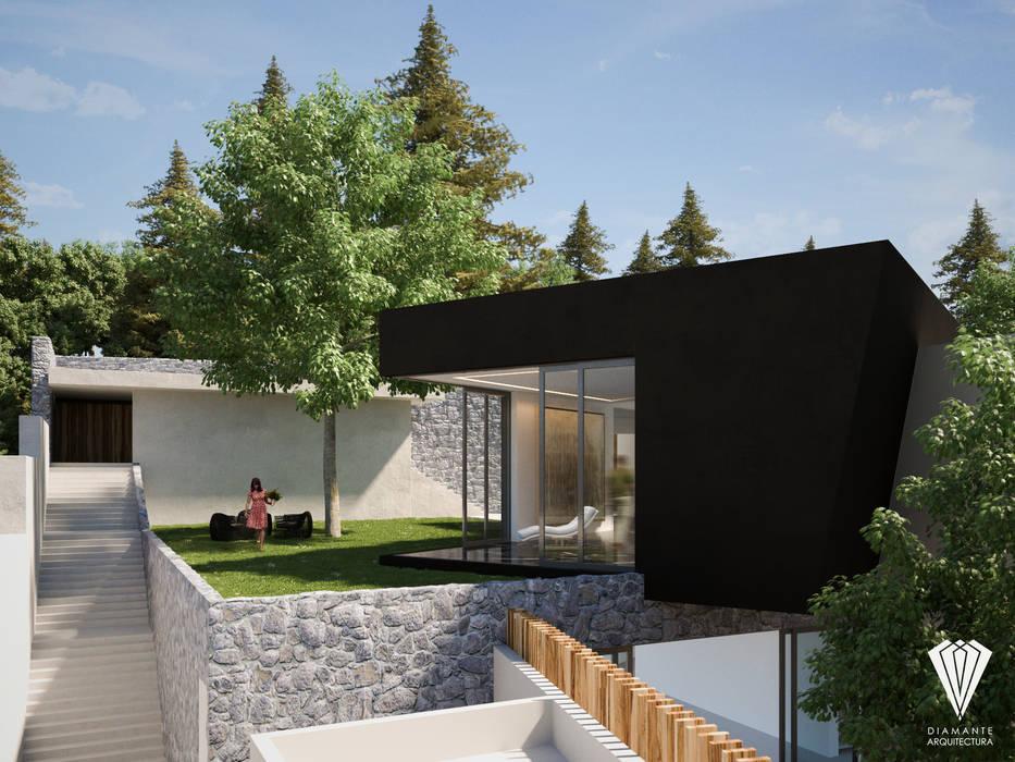 Jardín Acceso: Jardines en la fachada de estilo  por Diamante Arquitectura