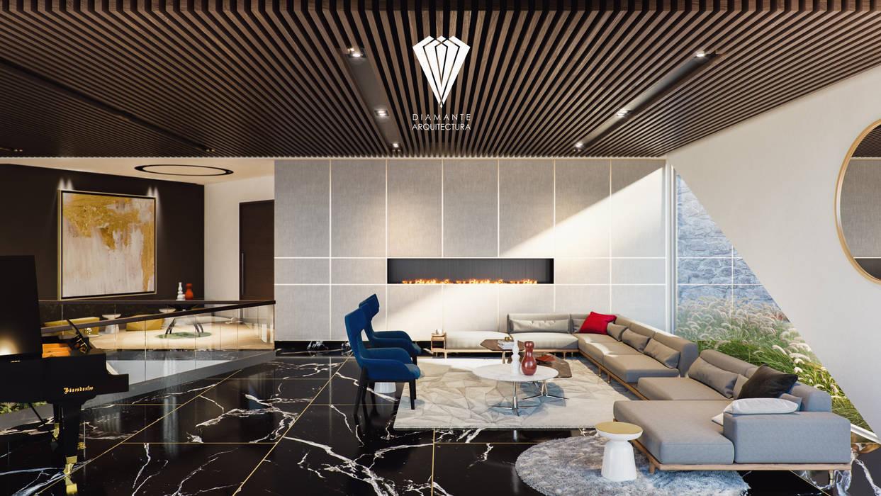 Sala de estar: Salas de estilo  por Diamante Arquitectura
