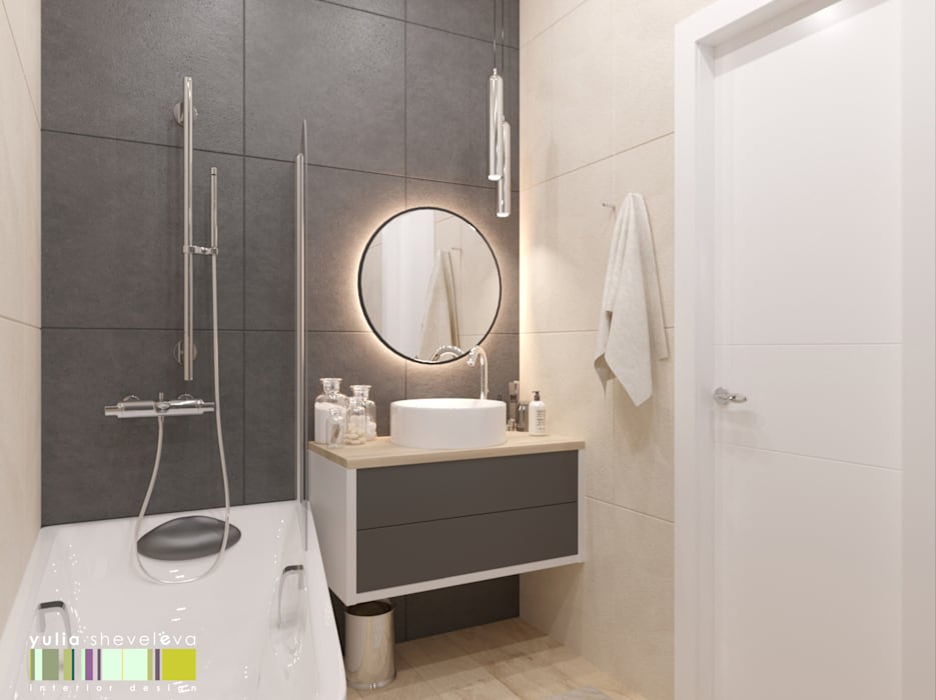 浴室 by Мастерская интерьера Юлии Шевелевой, 現代風