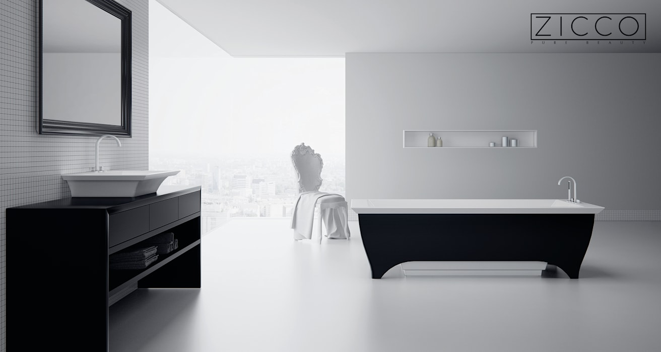 Badewanne Sentio I ZICCO GmbH - Waschbecken und Badewannen in Blankenfelde-Mahlow Ausgefallenes Messe Design Marmor Schwarz