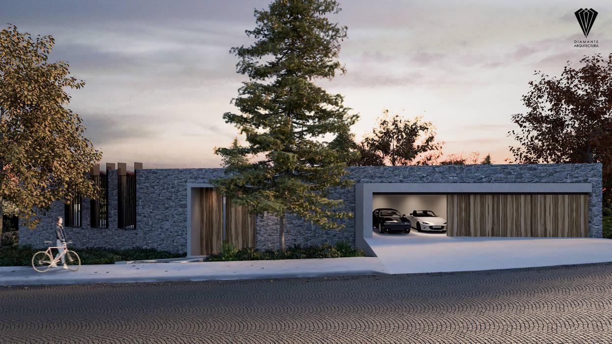 Fachada Calle: Casas de campo de estilo  por Diamante Arquitectura