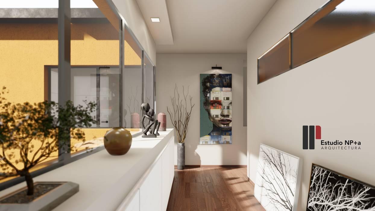 Couloir, entrée, escaliers minimalistes par Estudio NP+a Minimaliste Bois Effet bois