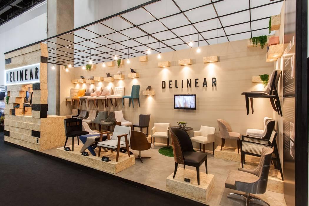 STAND DELINEAR MÓVEIS FEIRA HIGH DESIGN EXPO, SÃO PAULO, SP Centros de exposições escandinavos por ÉLLI ARQUITETURA Escandinavo