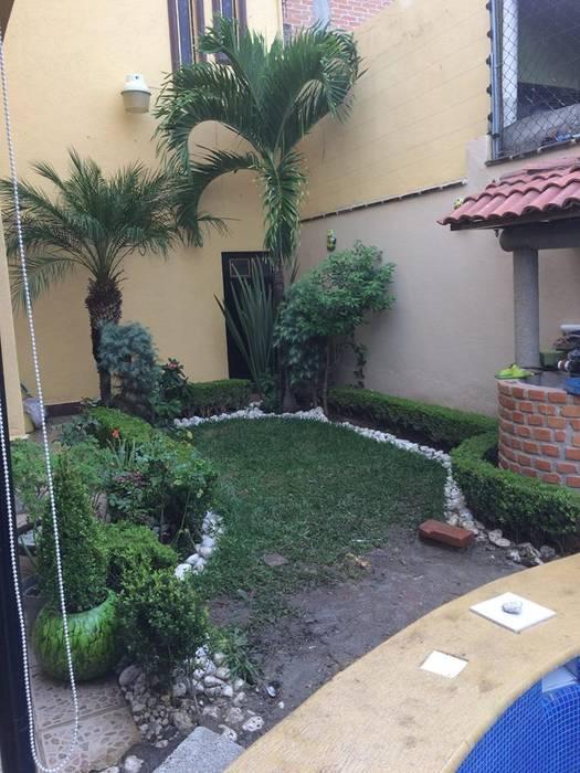 Terraza Con Policarbonato Con Jardinera Con Plantas Y Fuente