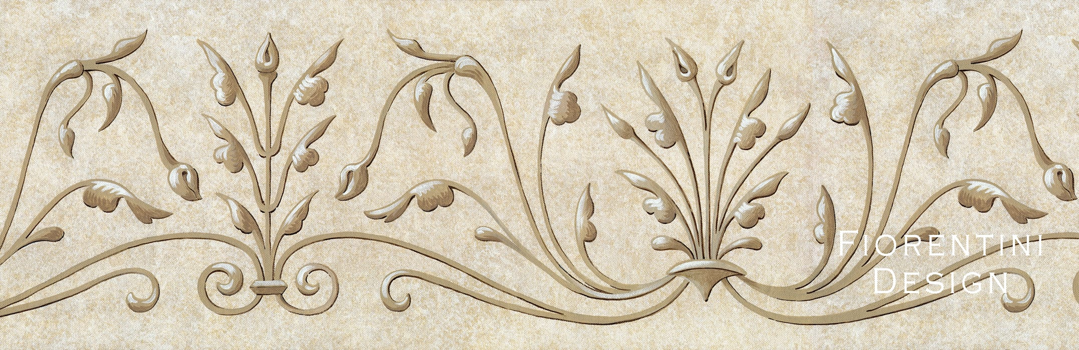 Renaissance Wallpaper Frieze Fiorentini Design Walls Beige