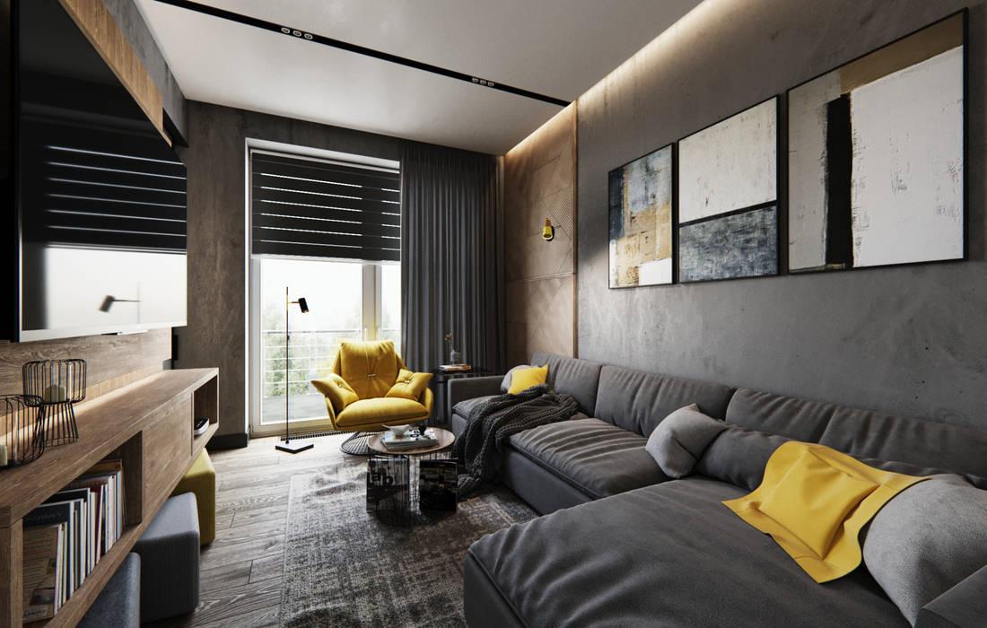 Living room by Студия дизайна интерьера Татьяны Лазурной, Industrial