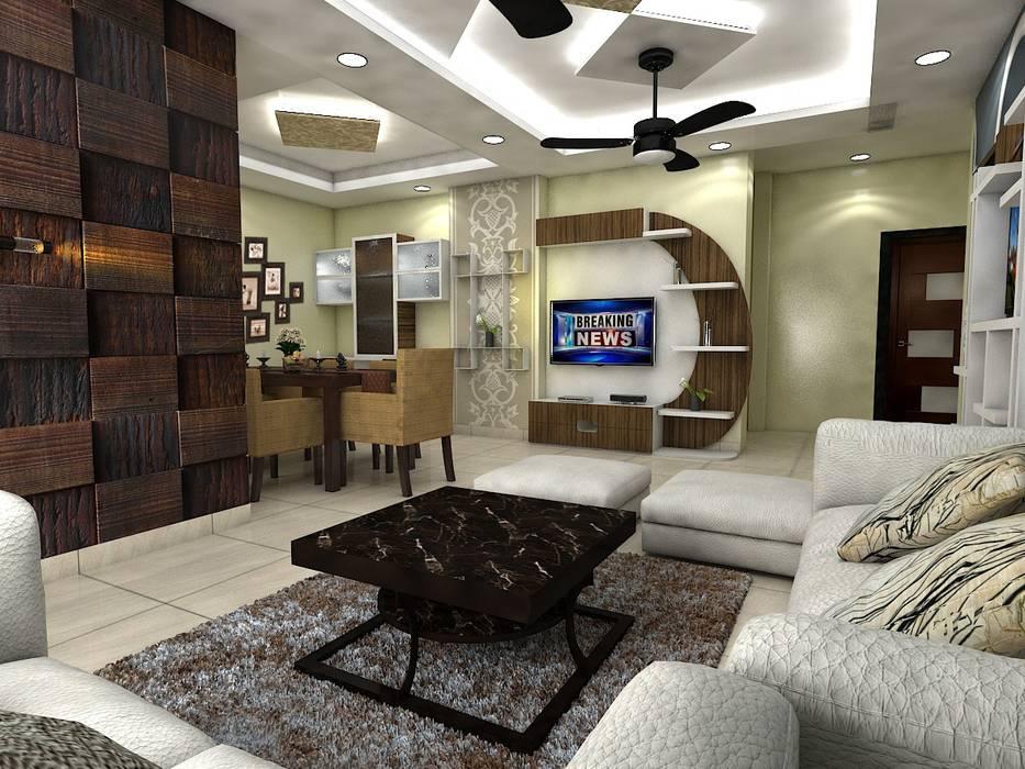 TV unit:  Living room by Saraswati Interior,Classic