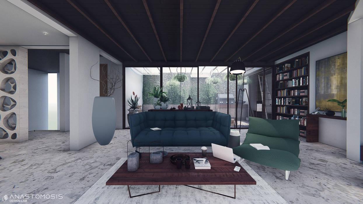 صالة المعيشة Living Space:  Living room تنفيذ Anastomosis Design Lab,