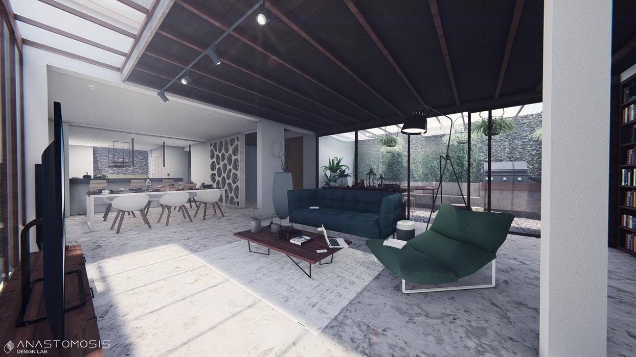 صالة المعيشة Living Space: استوائي  تنفيذ Anastomosis Design Lab, إستوائي