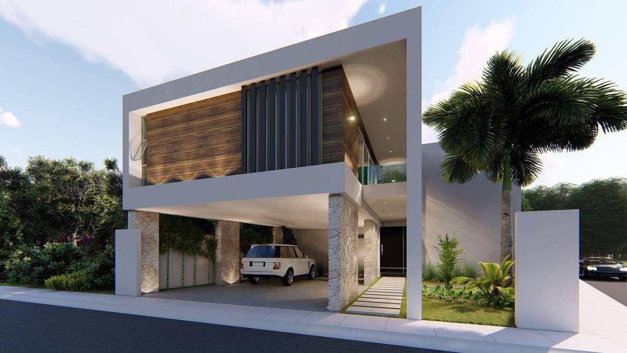 FACHADA PRINCIPAL - ANGULO DERECHO: Casas unifamiliares de estilo  por Basal Arquitectos