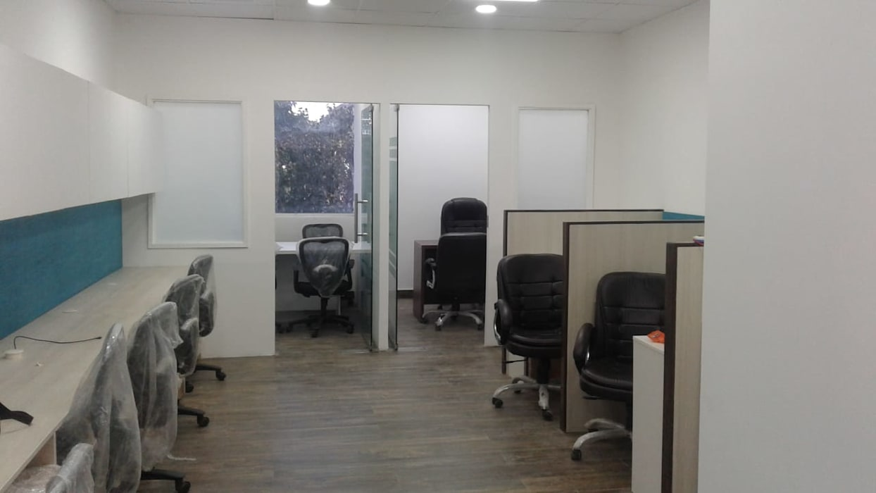 Common Area Grey-Woods Office spaces & stores Tiles Beige